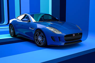 Digital Art - Jaguar F-type - Blue Retro by David Marchal
