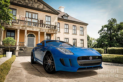 Digital Art - Jaguar F-type - Blue - Villa by David Marchal