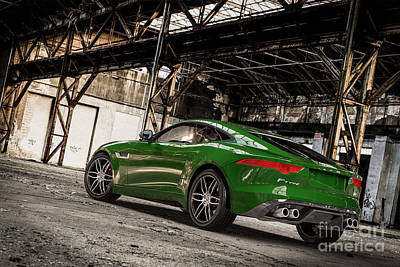 Digital Art - Jaguar F-type - British Racing Green - Rear View by David Marchal
