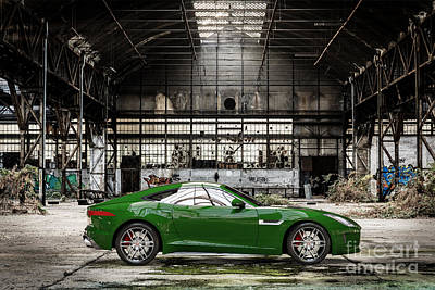 Digital Art - Jaguar F-type - British Racing Green - Side View by David Marchal