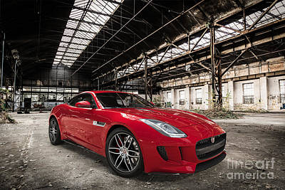 Digital Art - Jaguar F-type - Red - Front View by David Marchal