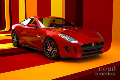 Digital Art - Jaguar F-type - Red Retro by David Marchal