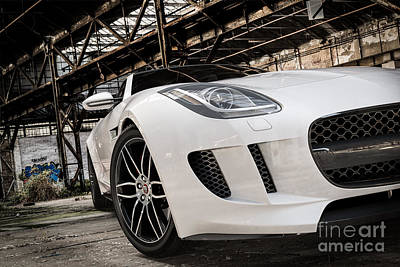 Digital Art - Jaguar F-type - White - Front Close-up by David Marchal