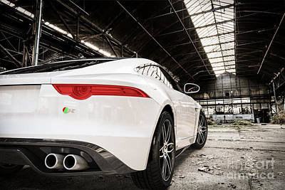 Digital Art - Jaguar F-type - White - Rear Close-up by David Marchal