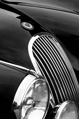 Photograph - Jaguar Grille Black And White by Jill Reger