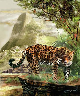 Wonder Of The World Painting - Jaguar In The Shadow Of  Machu Picchu Peru by Regina Femrite
