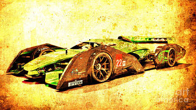 Sport Car Drawing - Jaguar Le Mans 2015, Race Car, Fast Car, Gift For Men by Drawspots Illustrations