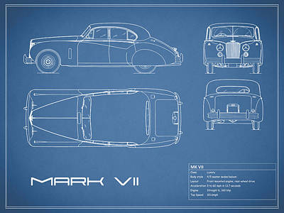 Photograph - Jaguar Mk Vii Blueprint by Mark Rogan