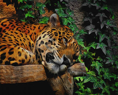 Digital Art - Jaguar Relaxing by Ernie Echols