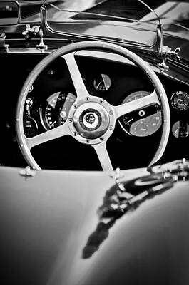 Photograph - Jaguar Steering Wheel -0797bw by Jill Reger