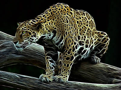 Jaguar Watching Print by Sandy Keeton