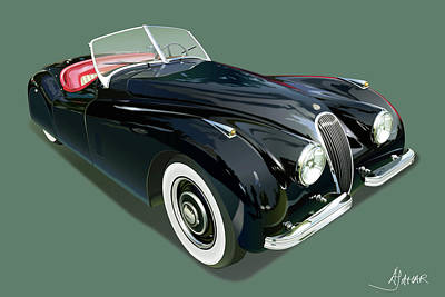 Jaguar Xk 120 Illustration Art Print by Alain Jamar