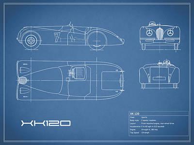 Jaguar Xk 120 Blueprint Art Print by Mark Rogan