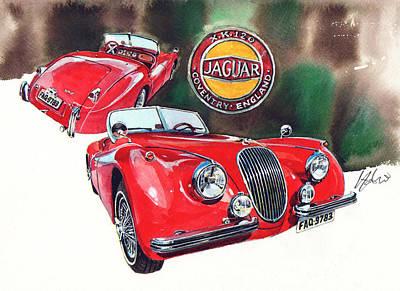 Roadster Painting - Jaguar Xk120 Roadster by Yoshiharu Miyakawa