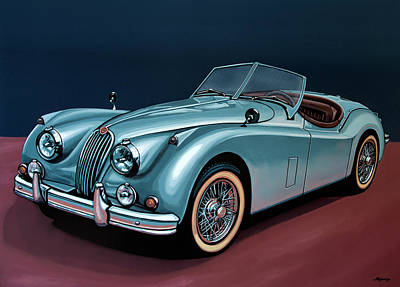 Acryl Painting - Jaguar Xk140 1954 Painting by Paul Meijering