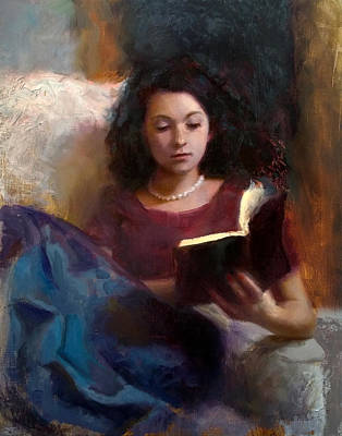 Painting - Jaidyn Reading A Book 1 - Portrait Of Young Woman by Karen Whitworth