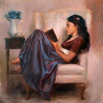 Library Painting - Jaidyn Reading A Book 2 - Portrait Of Woman by Karen Whitworth