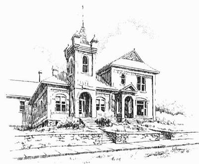 Drawing - Jail Historic Philipsburg Montana by Kevin Heaney