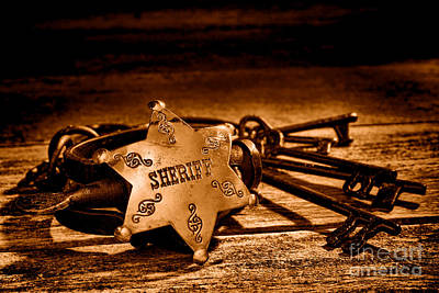 Law Enforcement Photograph - Jailer Tools - Sepia by Olivier Le Queinec