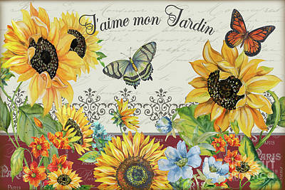 Print featuring the painting Jaime Mon Jardin-jp3990 by Jean Plout