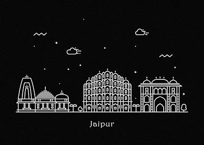 Abstract Landscape Drawing - Jaipur Skyline Travel Poster by Inspirowl Design