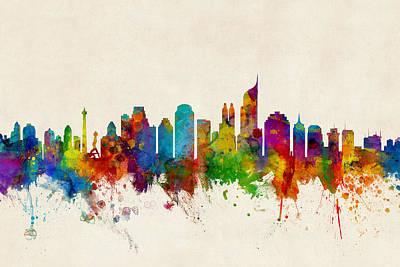 Watercolour Wall Art - Digital Art - Jakarta Skyline Indonesia Bombay by Michael Tompsett