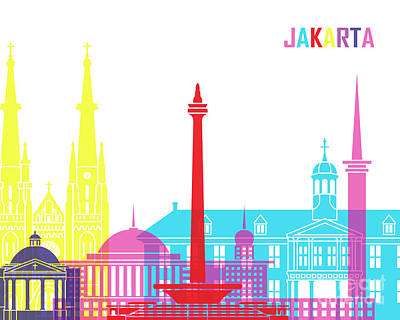 Indonesia Painting - Jakarta Skyline Pop by Pablo Romero