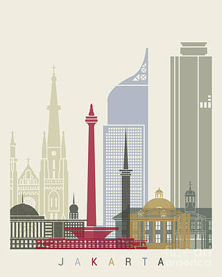 Indonesia Painting - Jakarta Skyline Poster by Pablo Romero