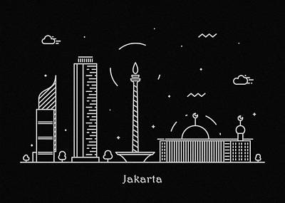Abstract Landscape Drawing - Jakarta Skyline Travel Poster by Inspirowl Design