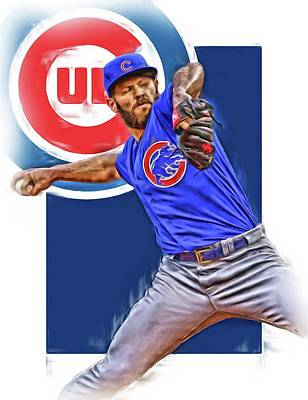 Mixed Media - Jake Arrieta Chicago Cubs Oil Art by Joe Hamilton