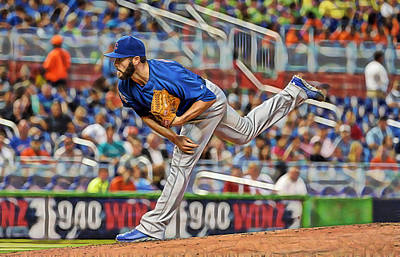 Mixed Media - Jake Arrieta Chicago Cubs Pitcher by Marvin Blaine