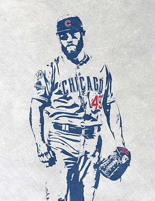 Baseball Art Mixed Media - Jake Arrieta Chicago Cubs Pixel Art by Joe Hamilton