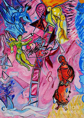 Marc Chagall Painting - Jakobs Dream 1 - Tribute To Marc Chagall by Art by Danielle