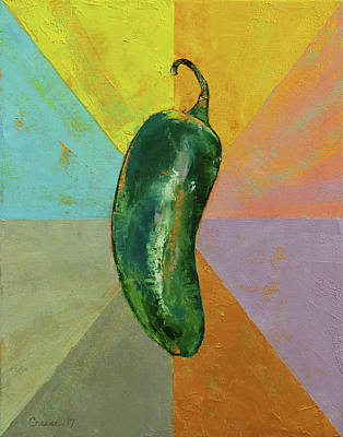 Chili Painting - Jalapeno by Michael Creese