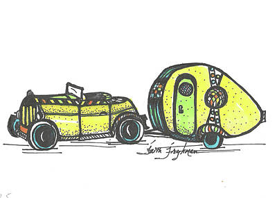 Jalopy And Yellow Camper Art Print by Faith Frykman