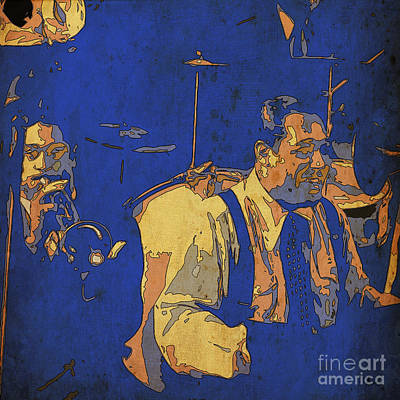 Cave Art Drawing - Jam Session 03 - Jazz Musicians by Pablo Franchi