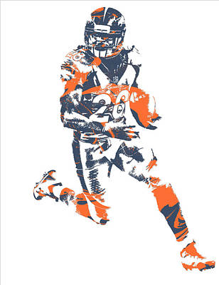 Mixed Media - Jamaal Charles Denver Broncos Pixel Art 1 by Joe Hamilton