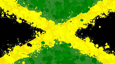 Jamaica Mixed Media - Jamaica Flag Paint Splatter by Dan Sproul
