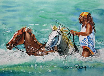 Horses In The Ocean Painting - Jamaica Man by Maria Barry