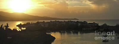 Rights Managed Images Photograph - Jamaica Sunset Bay Panorama by Felipe Adan Lerma