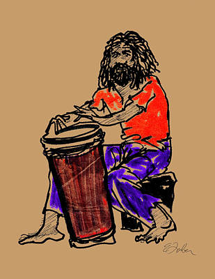 Jamaican Digital Art - Jamaican Drummer by Edward Farber