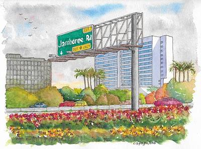 Exit Painting - Jamboree Rd. Freeway 405 Exit Sign In Irvine, California by Carlos G Groppa