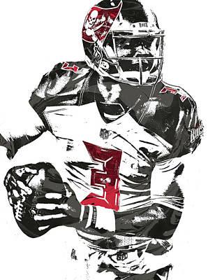 Art Print featuring the mixed media Jameis Winston Tampa Bay Buccaneers Pixel Art by Joe Hamilton