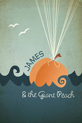 Retro Digital Art - James And The Giant Peach by Megan Romo
