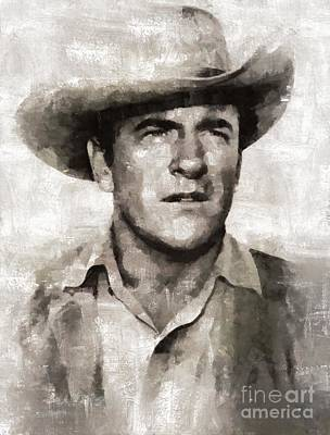 Elvis Presley Painting - James Arness, Actor by Mary Bassett