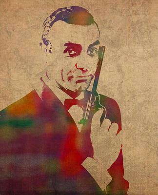 Sean Connery Mixed Media - James Bond Sean Connery Watercolor Portrait by Design Turnpike