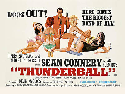 Sean Connery Photograph - James Bond Thunderball Lobby Poster  1965 by Daniel Hagerman