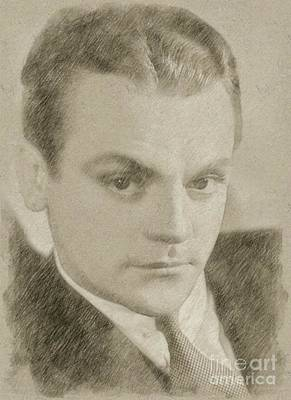 John Wayne Drawing - James Cagney Hollywood Actor by Frank Falcon