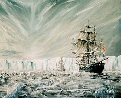 Painting - James Clark Ross Discovers Antarctic Ice Shelf Jan 1841 by Vincent Alexander Booth