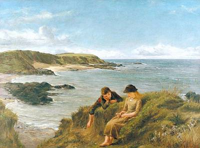 Caucasian Painting - James Clarke Hook  Young Dreams 1887 by James Clarke Hook